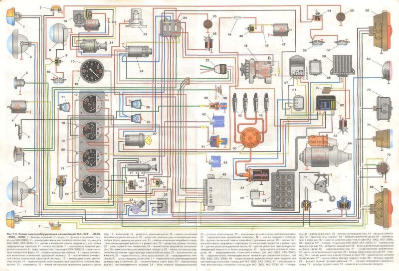1 фонарь передний; 2 фара; 3 фонарь спецзнака (только для УАЗ3962); 4 электродвигатель вентилятора отопителя...